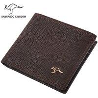 Kangaroo Kingdom Famous Brand Men Wallets Genuine Leather Short Design Purse Business Male Pocket Wallet Credit