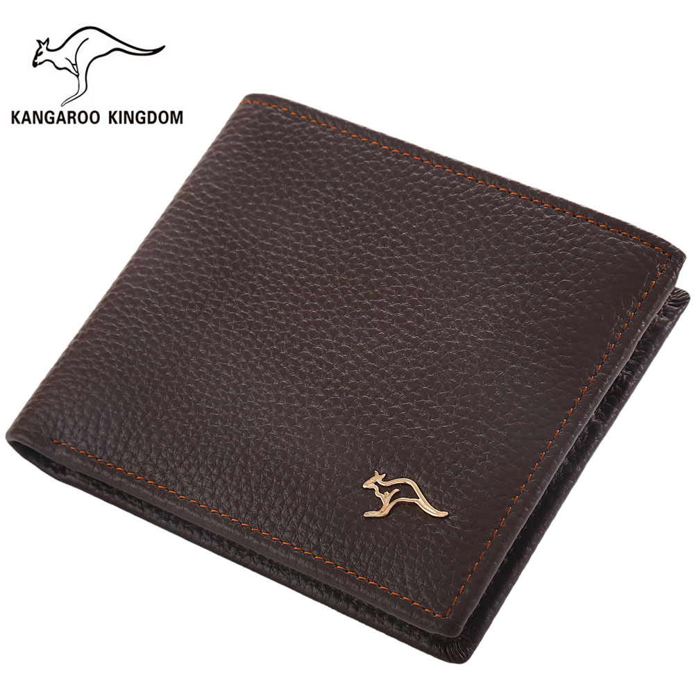 Kangaroo Kingdom Famous Brand Men Wallets Genuine Leather Short Design Purse Business Male Pocket Wallet Credit Card Holder male brief short design wallets credit card holder men purse