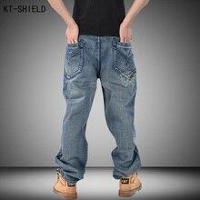 Mens Hip Hop Jeans Washing Men Baggy Jeans Long Loose Fashion Skateboard Baggy Relaxed Fit Denim Casual Men Street dance Pants