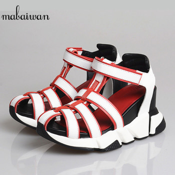 Mabaiwan Gladiator Casual Women Sandals Platform Leather High Heel Wedges Shoes Woman Summer Hook Loop Hollow Sports Slippers