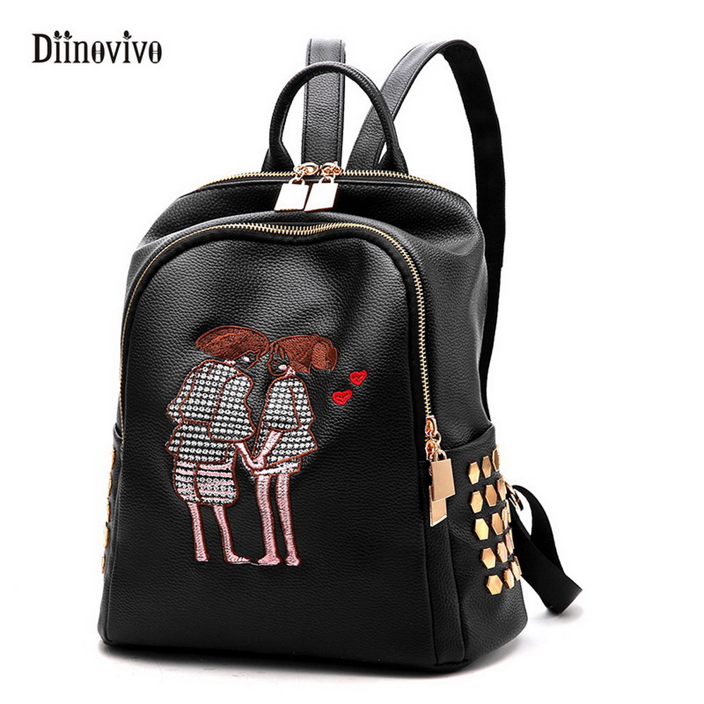 DIINOVIVO Preppy Style Embroidery Backpacks Fashion Solid Leather Travel Bags Casual Style Schoolbag Travel Bagpack WHDV0052