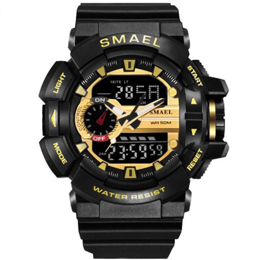 Men Military Watch Large Dial Luminous Fashion Quartz Clock Waterproof LED Digital Wristwatch Multifunction Outdoor Sports Watch|Sports Watches| |  - title=