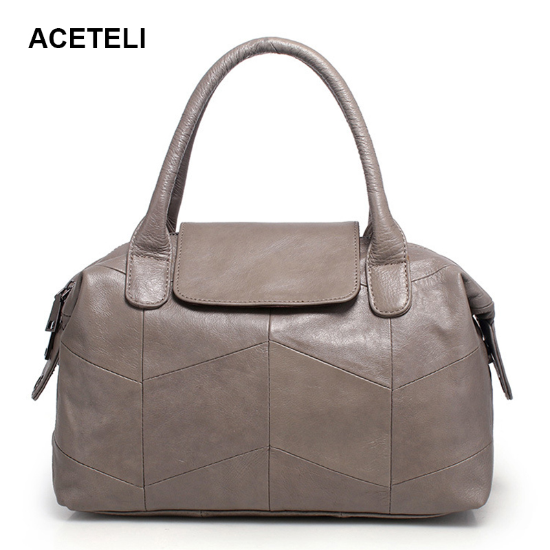 ACETELI women bag  genuine leather shoulder ladies hand  handbag  woman bags handbags women famous brands