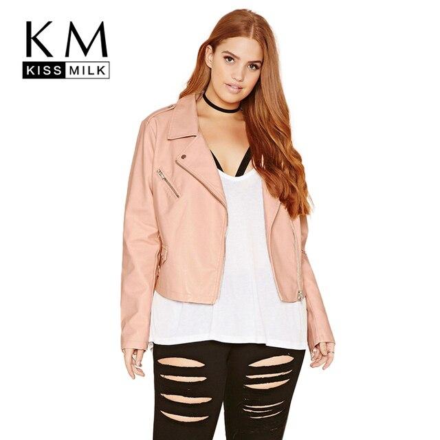 Kissmilk Плюс Размер Новая Мода Женская Одежда Повседневная С Длинным Рукавом Карманы куртка Короткая Тонкий Большой Размер Moto Куртки 3XL 4XL 5XL 6XL
