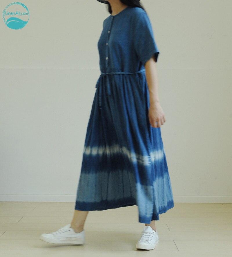 LinenAll женщин Свежий 100% Индиго рук tie dye соль Ежедневно 100% белье комфорт Стройный платье халат женский