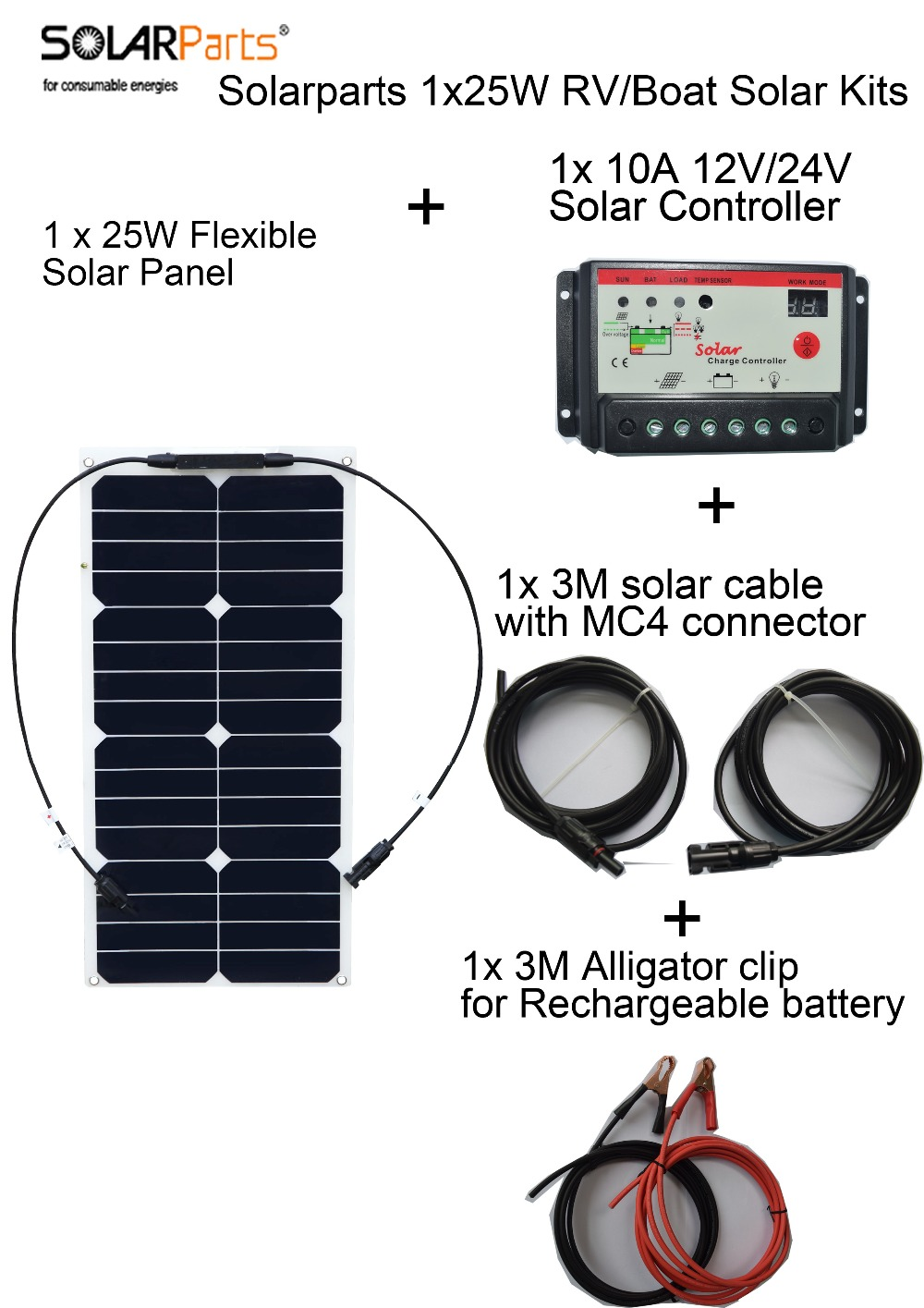 Solarparts  25w flexible solar panel system solar cell controller cable for yacht/RV/light/12v battery solar energy generation solarparts 100w diy rv marine kits solar system1x100w flexible solar panel 12v 1 x10a 12v 24v solar controller set cables cheap