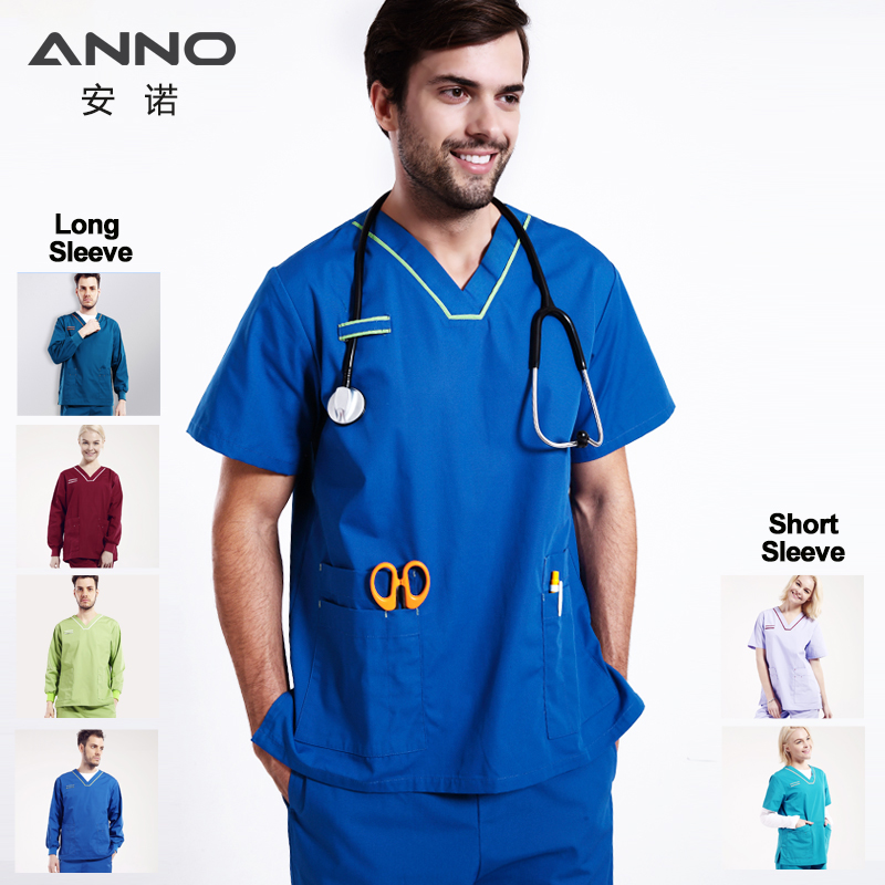 ANNO Blue Medical Clothing For Women And Men Sets Nursing Uniform Scrubs Doctor Short Sleeve Hospital Surgical Gowns