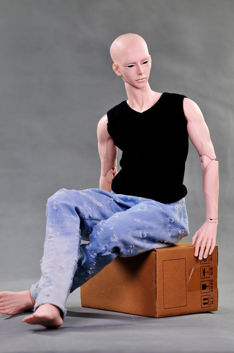 clothes dolls fits 72-75cm uncle & 60cm 1/3 BJD dolls  hole jeans + t-shirt vest 1 4 1 3 sd17 uncle bjd sd doll accessories bjd clothes black t shirt