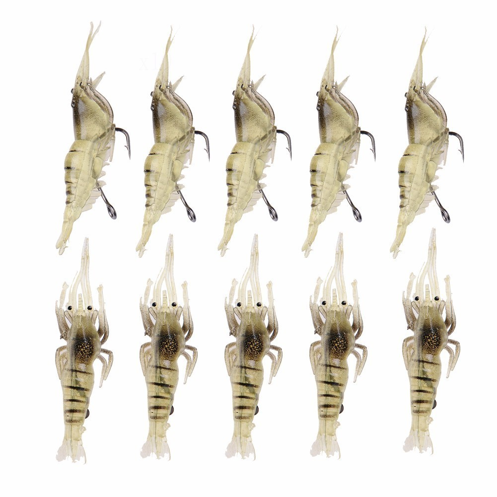 10pcs/lot Sea Fishing Lures Shrimp Worm Soft Bait Artificial Squid Plug Prawn Lure With Sharp Crank Hook Lead Carp Pesca Tackle