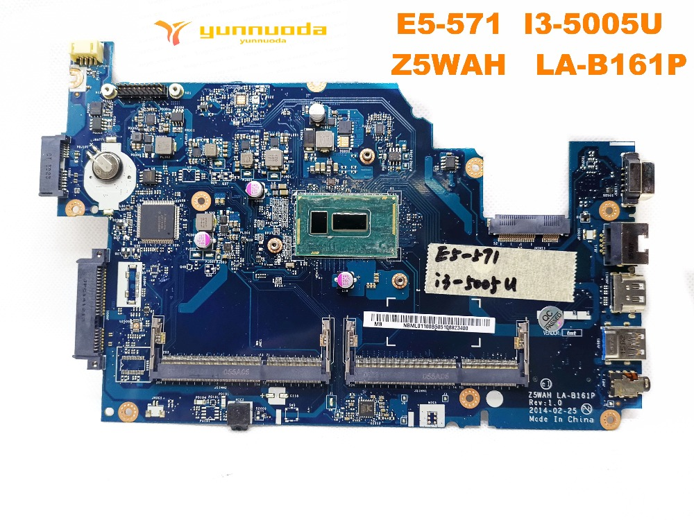 Original for ACER E5-571 laptop motherboard E5-571  I3-5005U   Z5WAH   LA-B161P tested good free shipping Original for ACER E5-571 laptop motherboard E5-571  I3-5005U   Z5WAH   LA-B161P tested good free shipping