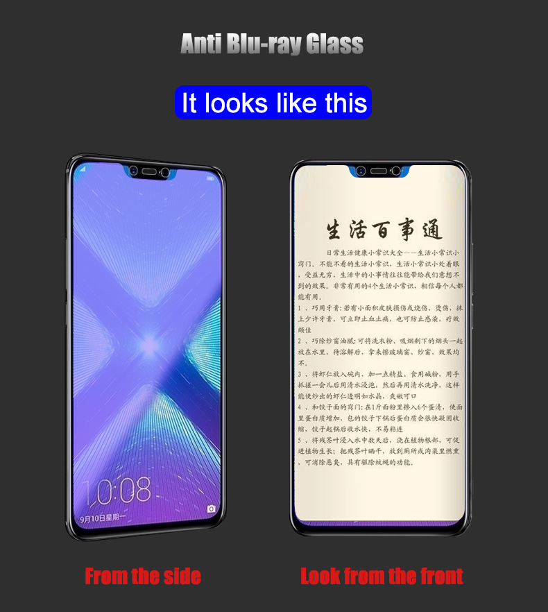 Image 5 - 2pcs Tempered Glass For Huawei Honor 8X / 8X Max Screen Protector 9H 2.5D Anti Blu ray Glass For Huawei Honor 8X Max glass film-in Phone Screen Protectors from Cellphones & Telecommunications