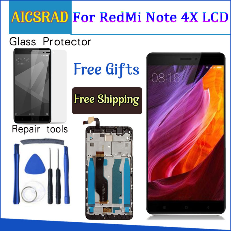 AICSRAD Für Xiaomi redmi note 4X note4X hinweis 4 Globale Version Snapdragon 625 LCD Display + Touch-Screen-Digitizer Mit Rahmen