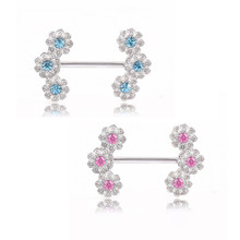 2PCS Hot Cute Flowers Nipple Rings Vintage Stainless Steel Blue Crystal Women Bar Barbell Piercing Nipple Rings Body Jewelry