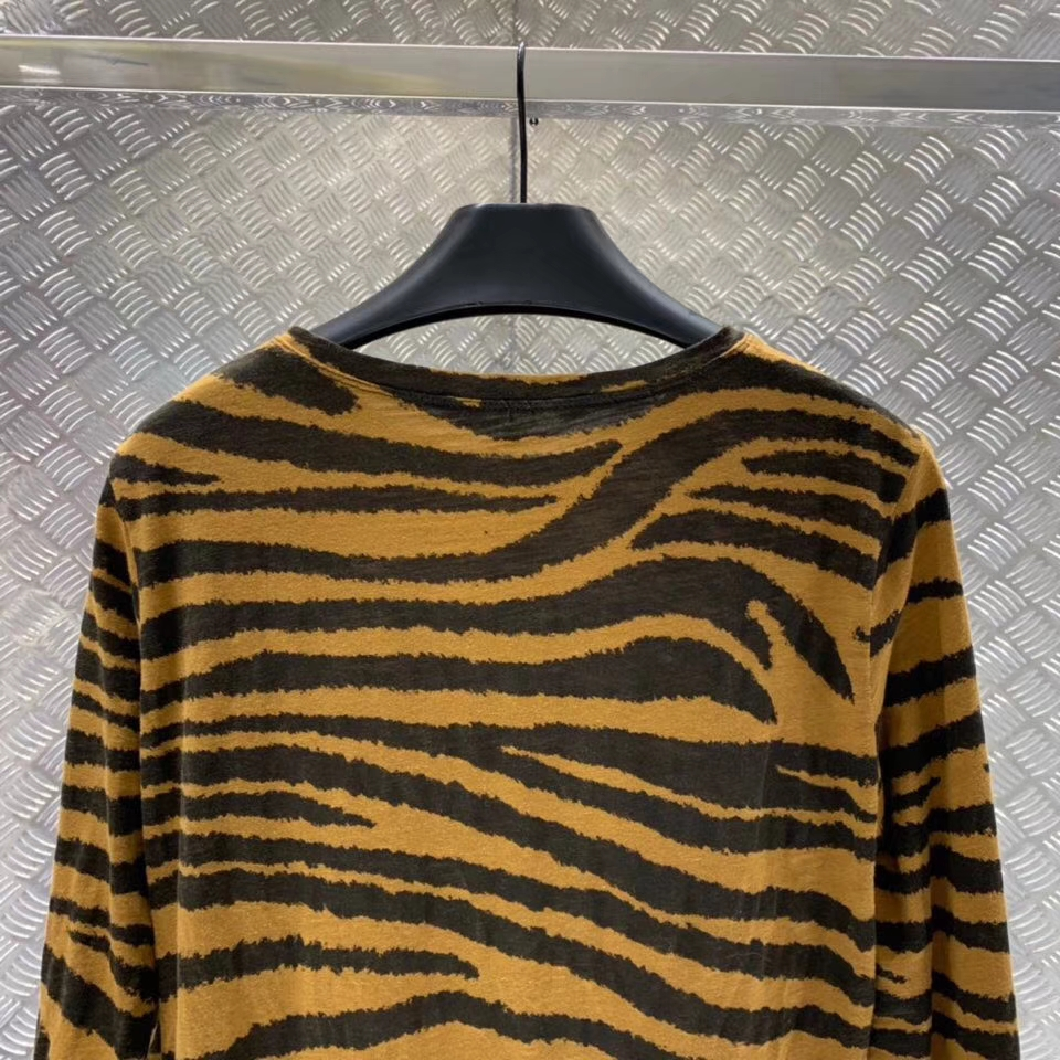 Femme breasted Vintage Motif Animaux Chemises Blouse À Tigre Rayé Chemise Hauts Longues Manches Single 66XU7qp