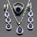 Cor prata Conjuntos De Jóias de Noiva Azul Criado Sapphire Branco CZ Para As Mulheres Longa Queda Brincos/Anéis/Colar/pingente de Caixa Livre