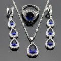 Silver Color Bridal Jewelry Sets Blue Created Sapphire White CZ For Women Long Drop Earrings/Rings /Necklace/Pendant Free Box