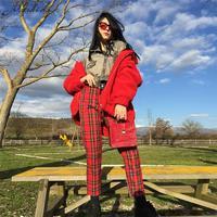 Новые женские летние тонкие клетчатые брюки красного цвета повседневные укороченные штаны