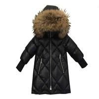 Children Winter Down Jackets 2019 Russia Winter Kids Natural Fur Collar Parkas Coat For Boys Girls Outerwear Dwq238
