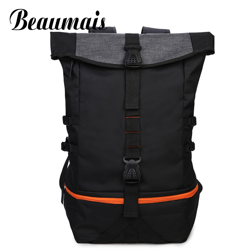 Beaumais Fashion Men Canvas Backpacks School Bags For College Students Men Big Travel Mochila Backpacks With Shose Pocket DB6073 fashion modern silver crystal flower quartz pocket watch necklace pendant women lady girl birthday gift relogio de bolso antigo
