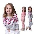 Primavera Outono Conjunto de Roupas Meninas Floral Crianças Terno Conjunto Casual Two-piece Crianças Roupas de Treino Terno Do Esporte Para A Menina