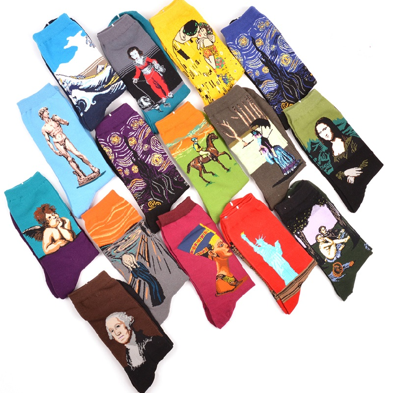 Autumn Winter Fashion Retro New Van Gogh World Famous Oil Painting Male   Socks   Women and Men Harajuku Design Funny Happy   Socks