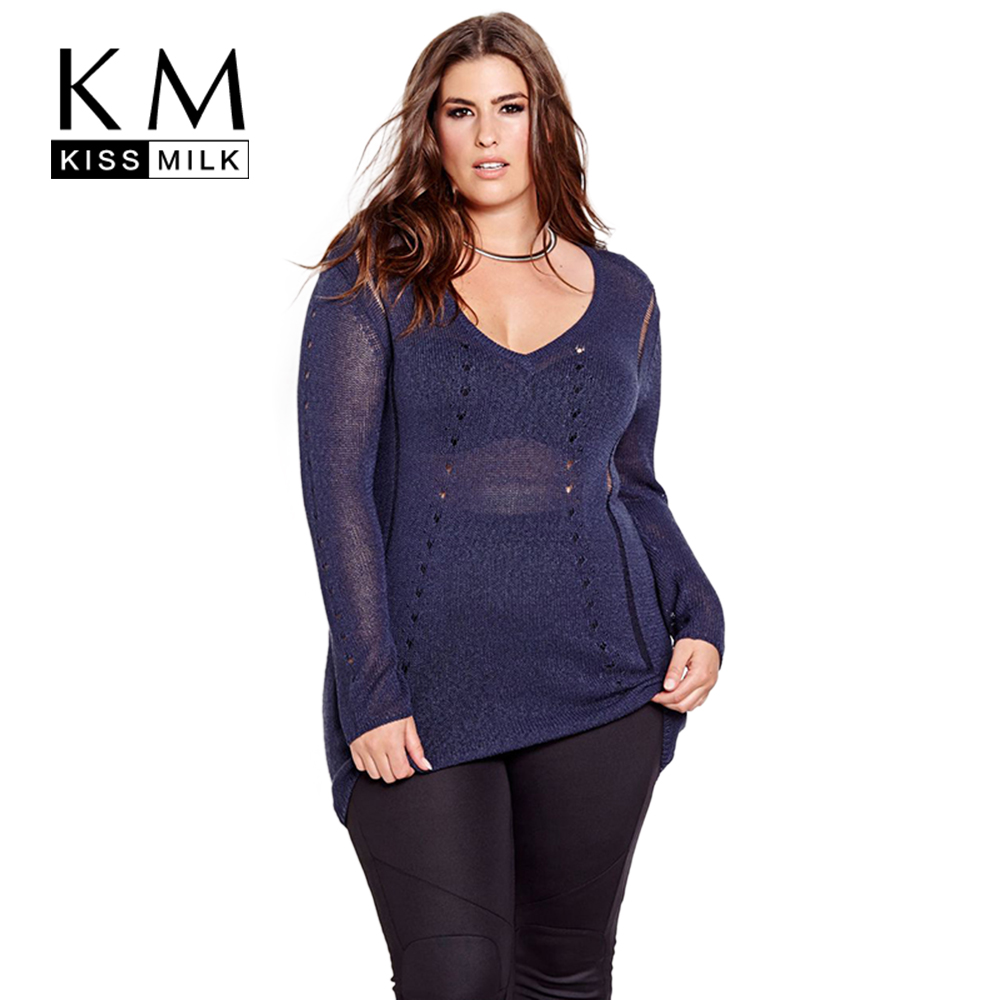 Kissmilk Plus Size New Fashion Women Clothing Basic Solid ...