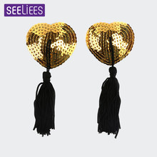 826185d70 SEELIEES Heart Sequin Adhesive Erotic Lingerie Stickers Nipple Cover  Stickers Sex Wife Tassel Silicone Milk Chest