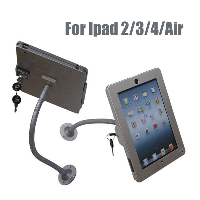 Tablet wall mount security display stand holder lock metal case rack protect for Ipad 2/3/4/air with lock and adjustable tuble for ipad 2 3 4 air pro 9 7 desktop secure lock stand with metal frame brace display kiosk pos table security holder on hotel
