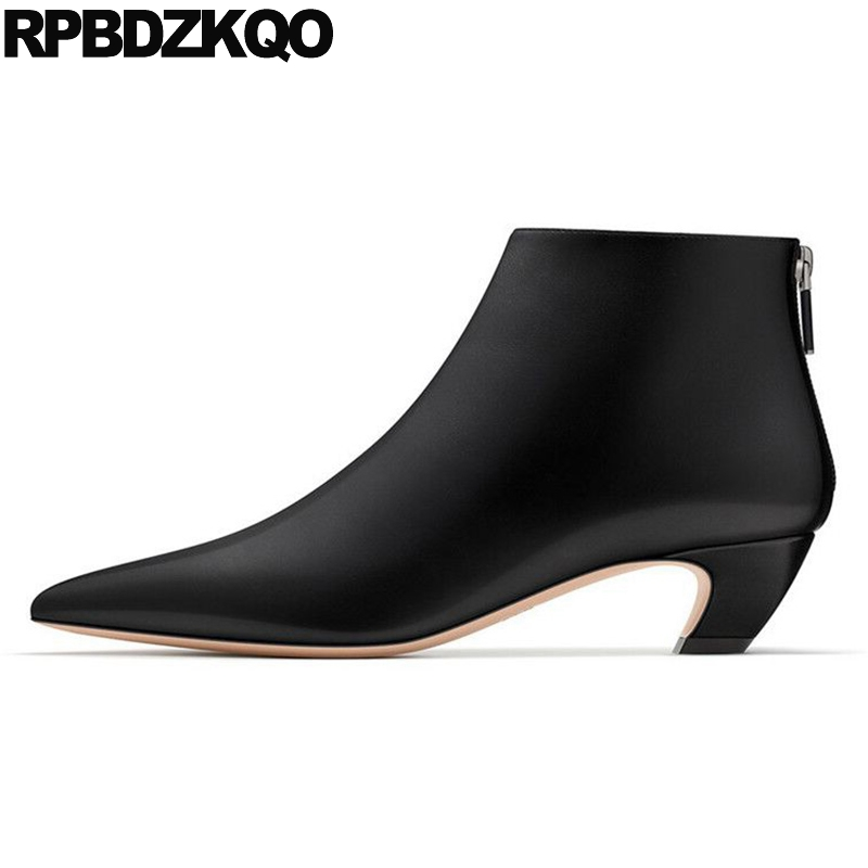 2017 Booties Zipper High Quality Shoes Strange kitten Women Ankle Boots Medium Heel Autumn Brand Suede Black Short Pointed Toe yanicuding round toe women flock ankle booties metal short boots zip design luxury brand fashion runway star autumn shoes flats
