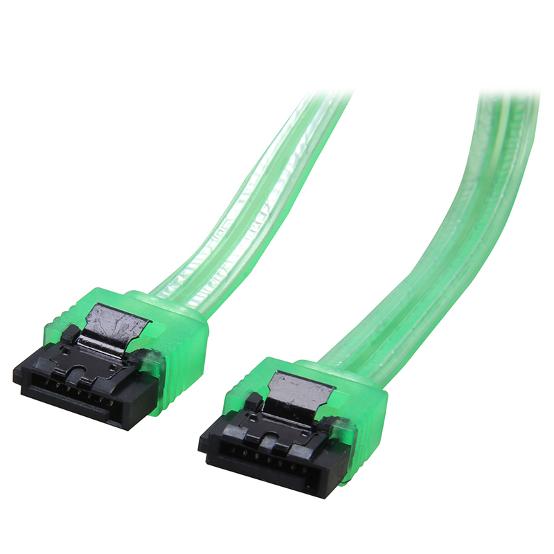 18 inches 6Gb/s SATA3 Serial ATA DATA cable with latch Locking for PC SATA 3.0 SATAIII 6Gbps HDD Hard Drive Disk/ SSD - UV Green 2pcs high quality hdd ssd sata3 0 iii 6gb 50cm straight cables right angle cable serial ata hard disk data line soft beautiful
