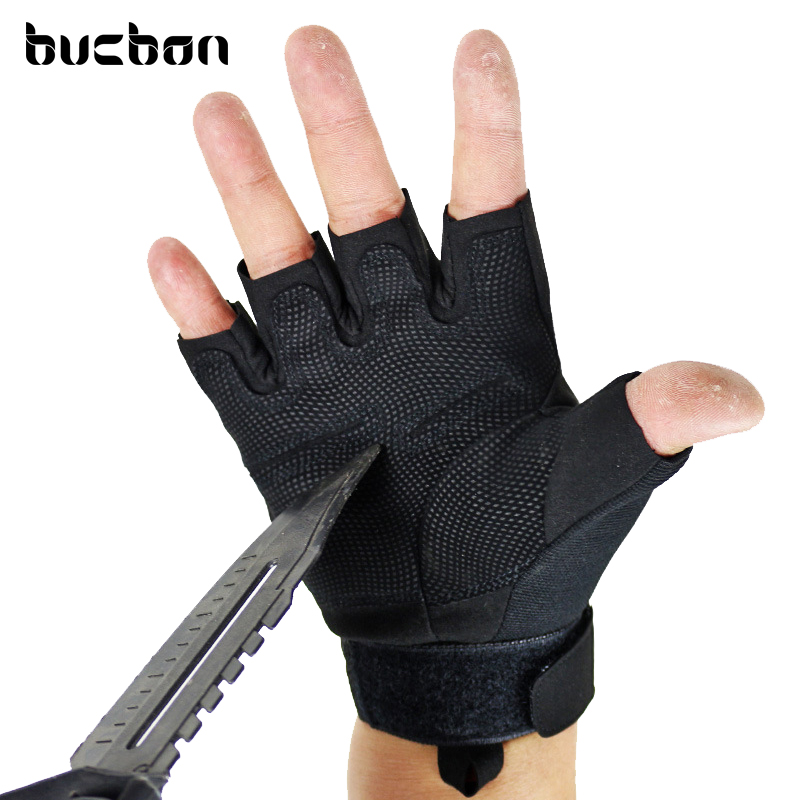 High Quality Black Hawk Militære Tactical Handsker Mænd Fighting Combat Halv Finger Anti-glidehandsker M / L / XL AGL009