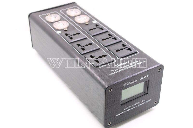 Weiduka AC8.8 de Haute Qualité Alimentation Filtre Puissance Purificateur Prise de Protection Contre La Foudre Avec Affichage de la Tension Pour HiFi Audio