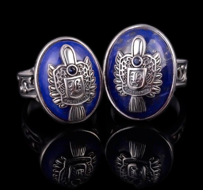 925 argent sterling vampire diaries anneaux pour Manretro Thai argent lapis lazuli large version dominatrice vague de bagues pour hommes