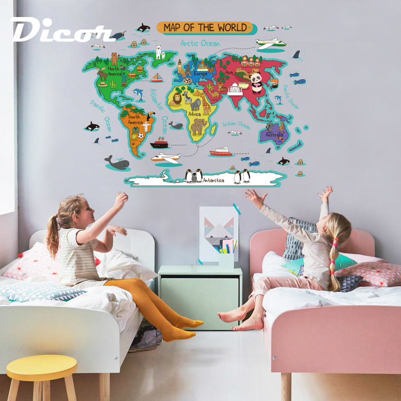 2019 New Wall Sticker Map Kids Room Diy Sticker Toy For Children Pvc Animals Cartoon World Map Kids Room Ornament Decal