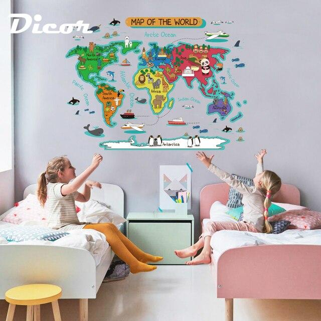 2019 New Wall Sticker Map Children Room Diy Sticker Toy For Kids PVC ...