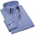 Мужчины Полосатый Бизнес Рубашки Мода Рубашка Мужчины Вскользь Уменьшают Подходящие Сплошной Цвет Сорочка Homme Plus Размер T033
