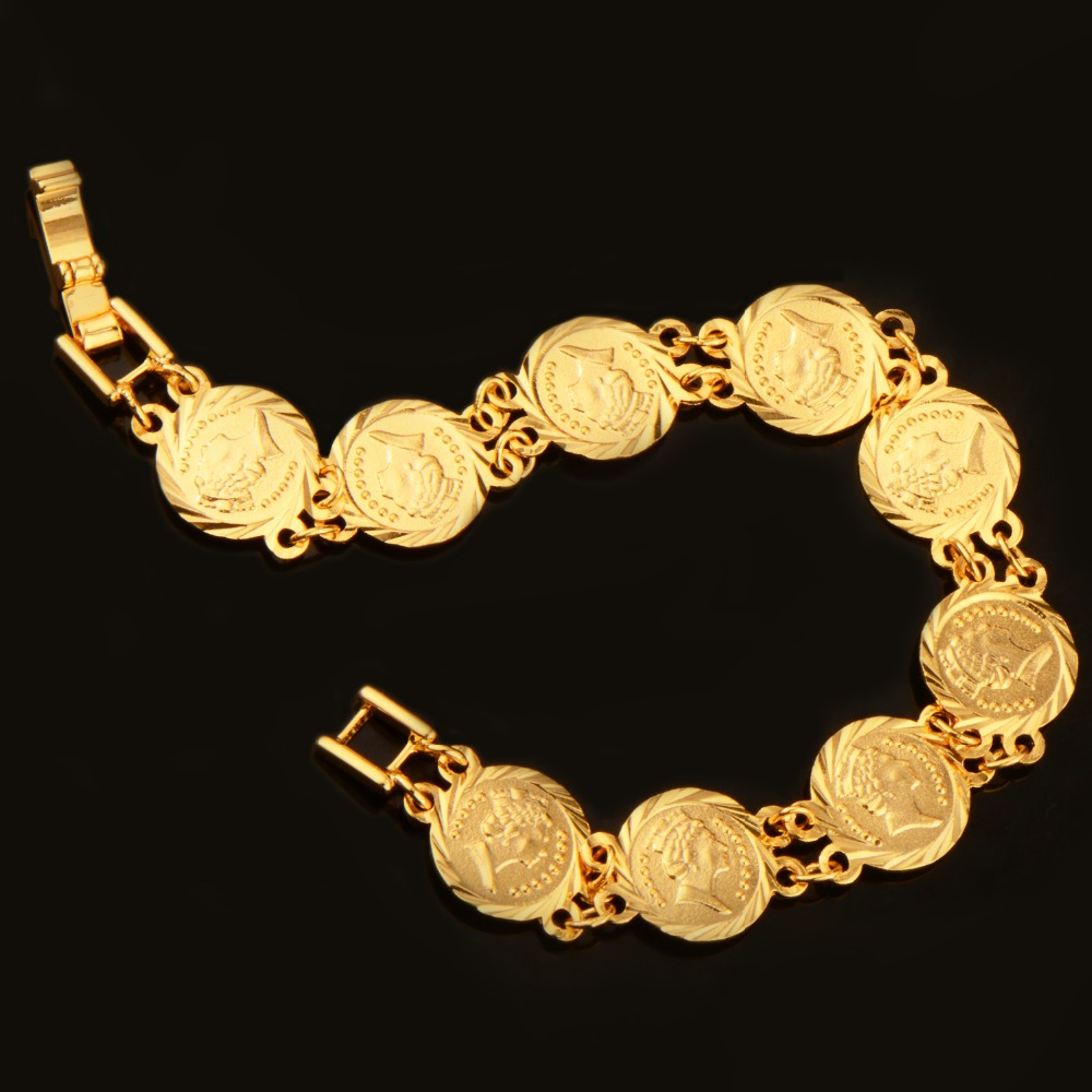 British Queen Coin Bracelets Women Jewelry Trendy Quality Gold Color Link Chain Bangles B40052 In Id From Accessories On