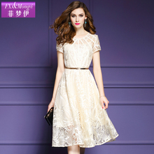 2017 summer fashion gentlewomen elegant short-sleeve dress slim embroidered o-neck women's plus size dress female