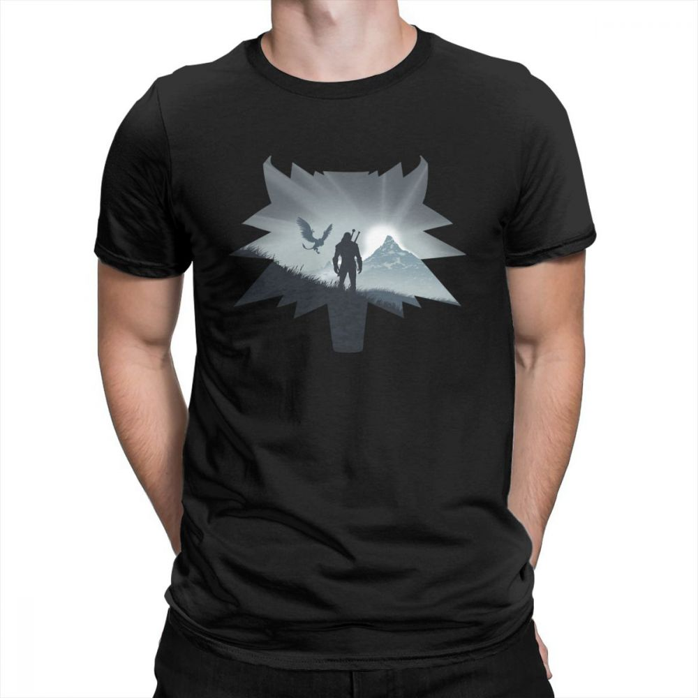 The Witcher Wild Hunt T-Shirts Men Short Sleeve Vintage Tee Shirt Round Neck Cotton Clothes Normal T Shirt