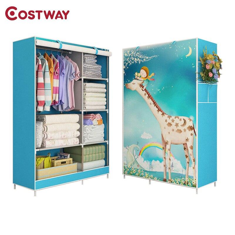 COSTWAY Спальня печати нетканые шкафы ткань для хранения Экономия пространства для подвешивания гардероб метизы пыле шкаф для хранения W0118