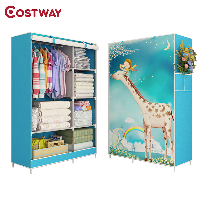 COSTWAY Cloth Wardrobe For clothes Fabric Folding Portable Closet Storage Cabinet Bedroom Home Furniture armario ropero mueblesCOSTWAY Cloth Wardrobe For clothes Fabric Folding Portable Closet Storage Cabinet Bedroom Home Furniture armario ropero muebles