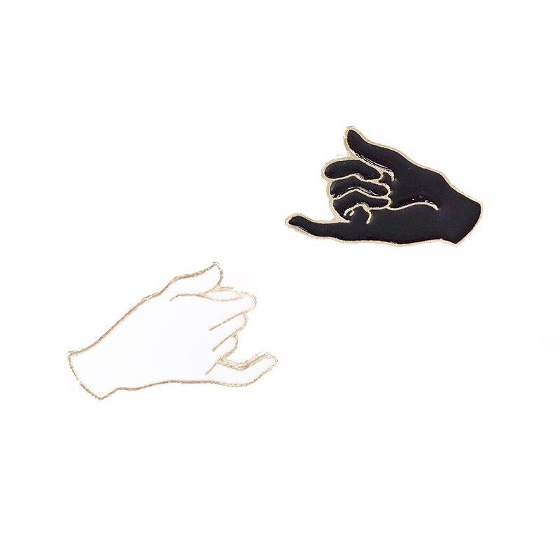 Значок жеста с крючком для рукоделия, белый и черный цвет
