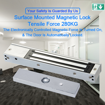Eseye 280KG Electric Door Lock Magnetic Lock Access Control System 12V DC Door Lock Hold Force Single Door Electromagnet Cabinet 280kg 600lb single door 12v electric lock for door magnetic electromagnetic lock holding force for access control with feedback