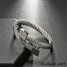 2019 High Quality Stainless steel bangle Men bracelet Opening cuff Charm jewelry  luxury