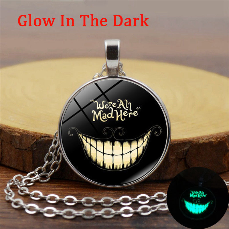 Alice In Wonderland Luminous Necklace Cheshire Cat Glass Glow In The Dark Jewelry  Long Chain Cabochon Neckalce for Women