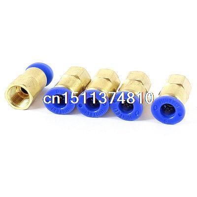 6mm x 1/8 PT Female Thread Air Pneumatic Push In Fittings Quick Connector 5 Pcs 5pcs air pneumatic 3 8 x 1 4 pt m m thread pipe connectors hex nipples