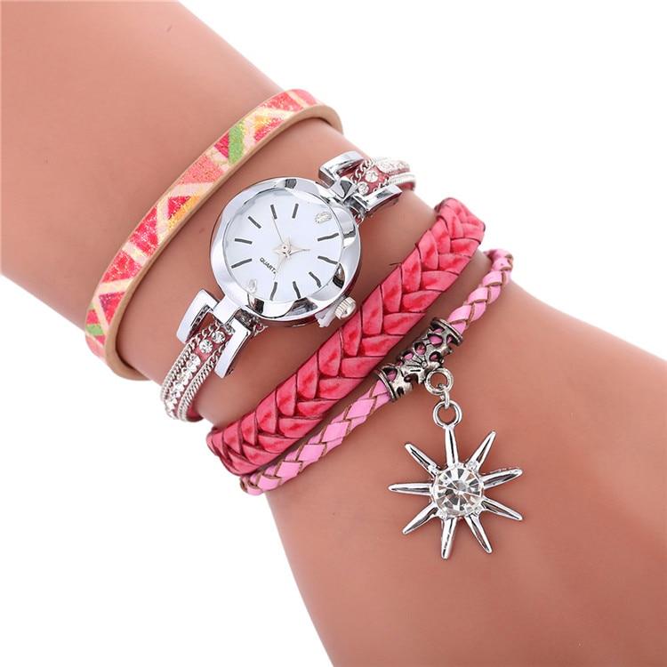 Fashion colorful design wholesale women ladies diamond leather bracelet watches leisure casual ladies dress leaf pendant