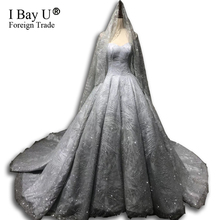 Grey Sliver Golden Glitter Wedding Dresses 2019 Train