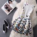 Vestido Casual Butterfly De Festa New Vintage Floral Dress Print Women Mini Short Party Elegant Evening Vestidos Summer Slim