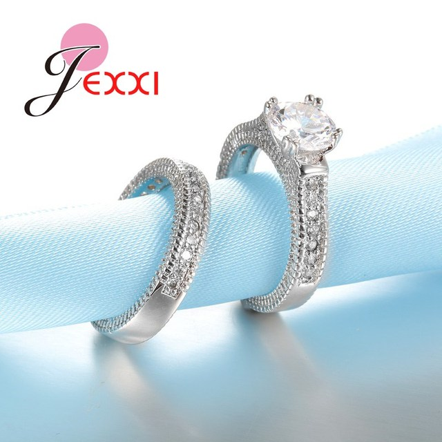 JEXXI 925 Stamped Sterling Silver Ring Sets 2 PCS Bijoux Full African AAA Crystal Heart Stone Rings Romantic Wedding Best Chioce
